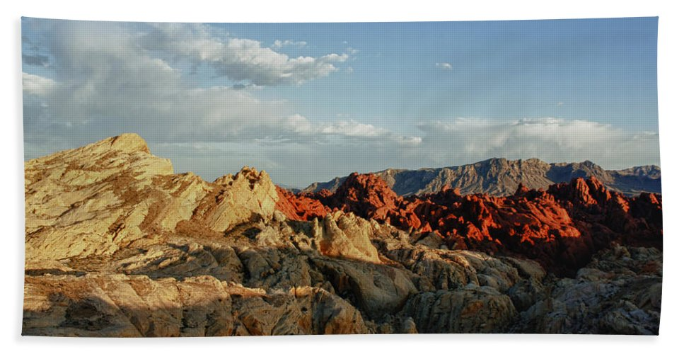 Valley Of Fire State Park Bath Sheet featuring the photograph Valley Of Fire by Linda Dunn