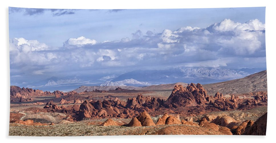 Valley Of Fire Hand Towel featuring the photograph Valley Of Fire Vista by Debby Richards
