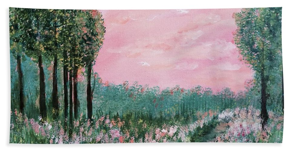 For Traditional House Hand Towel featuring the painting Valley Of Flowers by Suniti Bhand