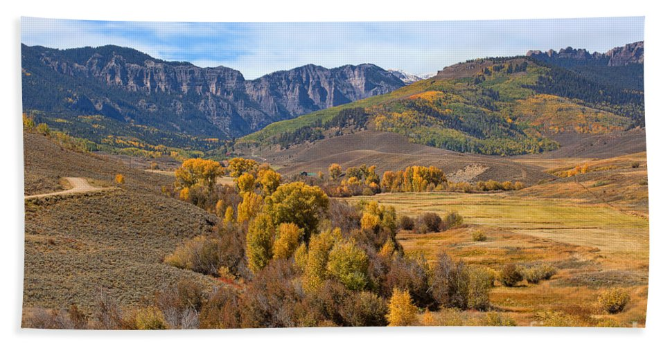 Autumn Colors Bath Sheet featuring the photograph Valley Of Gold by Jim Garrison