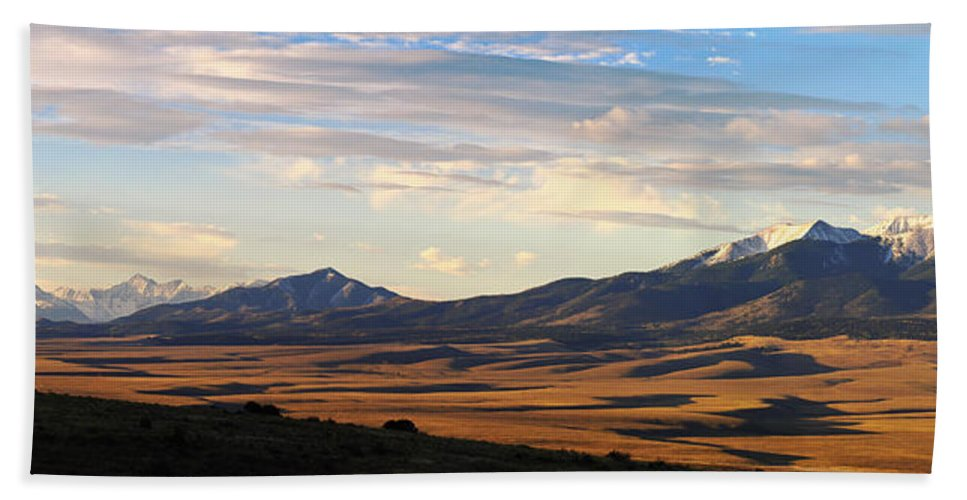 Colorado Photographs Bath Sheet featuring the photograph Valley Shadows Snowy Peaks by Gary Benson