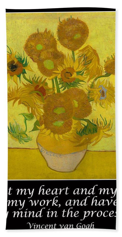 Van Gogh Motivational Quotes - Sunflowers Hand Towel