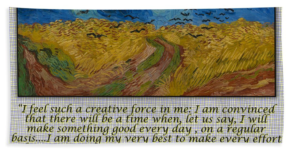 Van Gogh Bath Sheet featuring the drawing Van Gogh Motivational Quotes - Wheatfield With Crows II by Jose A Gonzalez Jr