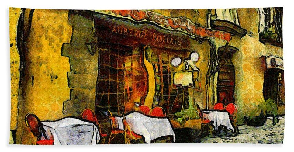 Impressionism Hand Towel featuring the photograph Van Gogh Style Restaurant by Georgiana Romanovna