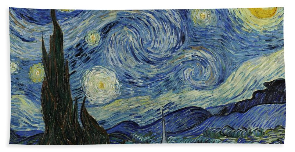 Van Gogh Hand Towel featuring the painting Van Gogh The Starry Night by Movie Poster Prints