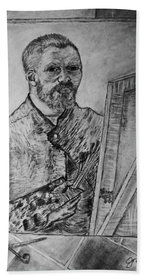 Van Goghs Self Portrait Painting Placed In His Room In Arles France Hand Towel featuring the drawing Van Goghs Self Portrait Painting Placed In His Room In Arles France by Jose A Gonzalez Jr