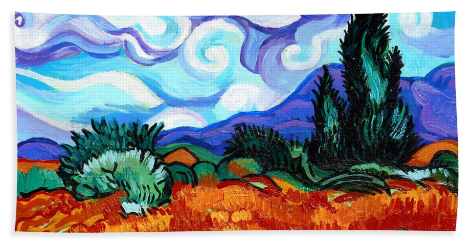 Vincent Van Gogh Bath Sheet featuring the painting Van Goghs Wheat Field With Cypress by Genevieve Esson