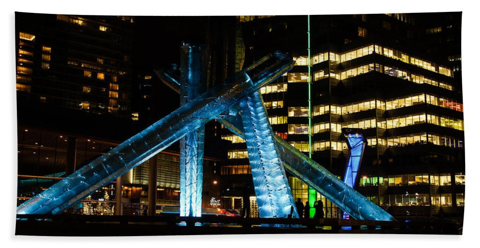 Vancouver Hand Towel featuring the photograph Vancouver - 2010 Olympic Cauldron Lit At Night by Georgia Mizuleva