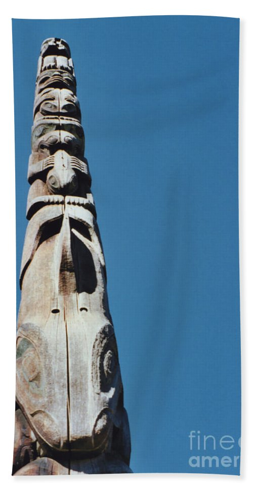 First Star Hand Towel featuring the photograph Vancouver Totem By Jrr by First Star Art