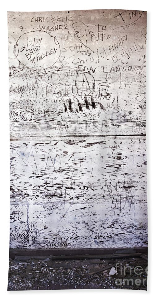 Graffiti; Vandalism; Dirty; Etches; Etched; Writing; Words; Grunge; Desolate; Old; White; Wall; Wood; Broken; Boards; Urban; Carved Hand Towel featuring the photograph Vandalized by Margie Hurwich