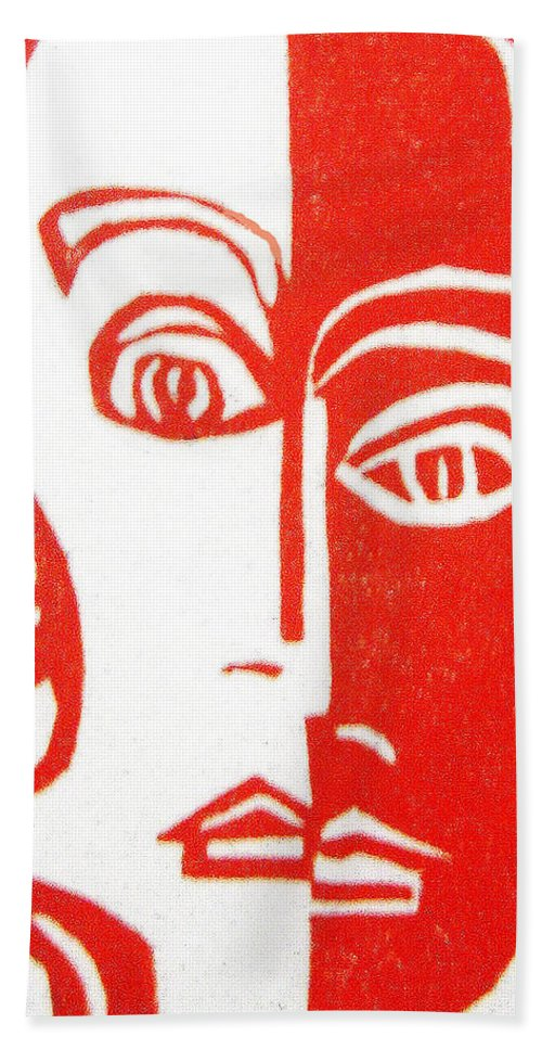 Red Hand Towel featuring the drawing Vanity by Donna Tucker