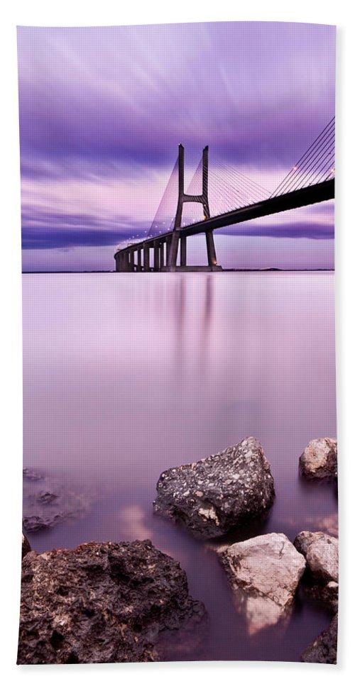 Lisbon Hand Towel featuring the photograph Vasco Da Gama Bridge by Jorge Maia