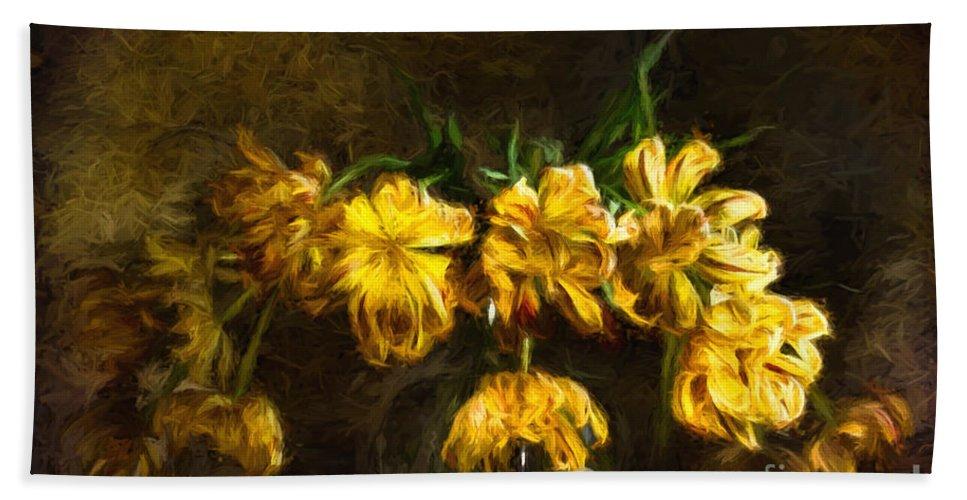 Tulips Hand Towel featuring the digital art Vase Of Yellow Tulips by Ann Garrett