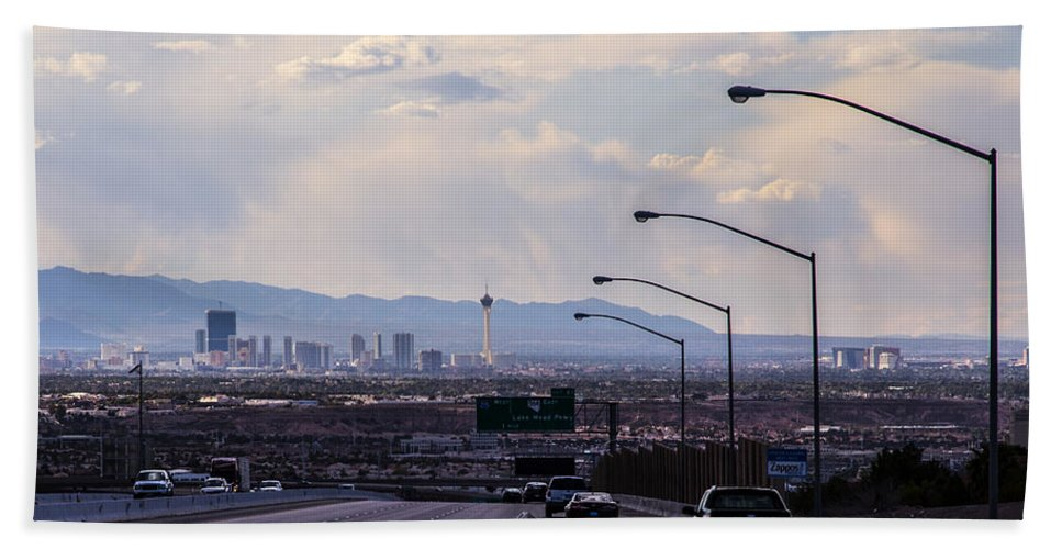 Las Vegas Hand Towel featuring the photograph Vegas Cityscape by Angus Hooper Iii