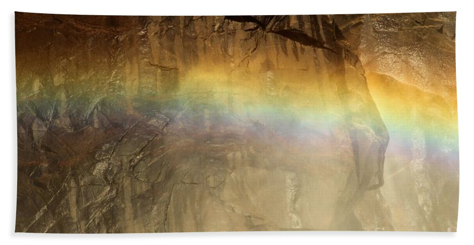 Yosemite National Park Hand Towel featuring the photograph Veiled By A Rainbow by Adam Jewell