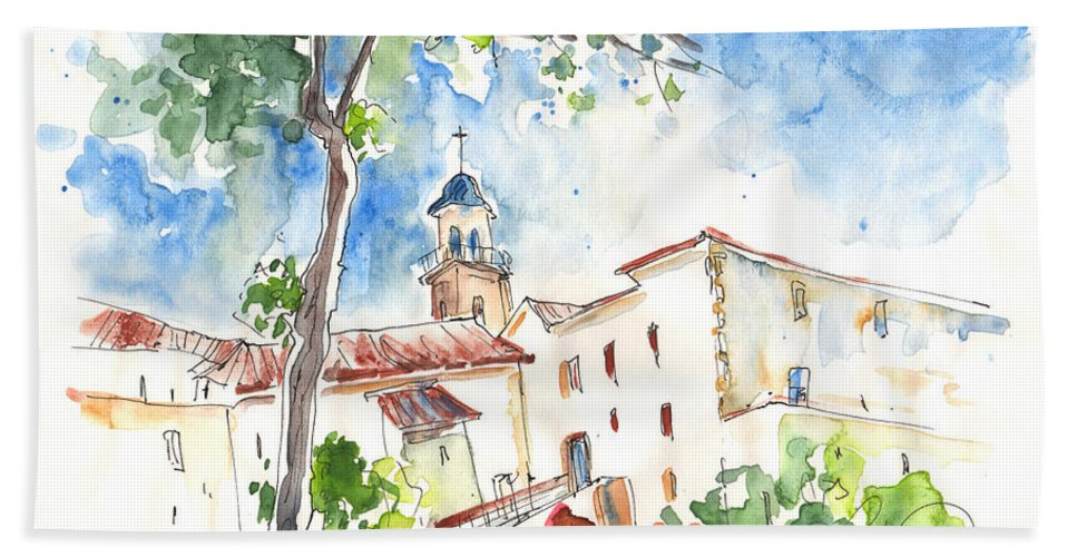 Travel Bath Sheet featuring the painting Velez Rubio Townscape 01 by Miki De Goodaboom