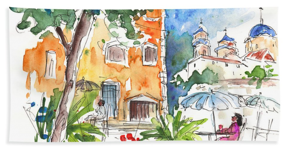 Travel Bath Sheet featuring the painting Velez Rubio Townscape 03 by Miki De Goodaboom