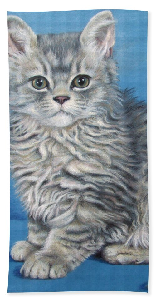 Cat Bath Towel featuring the drawing Velvet Kitten by Nicole Zeug
