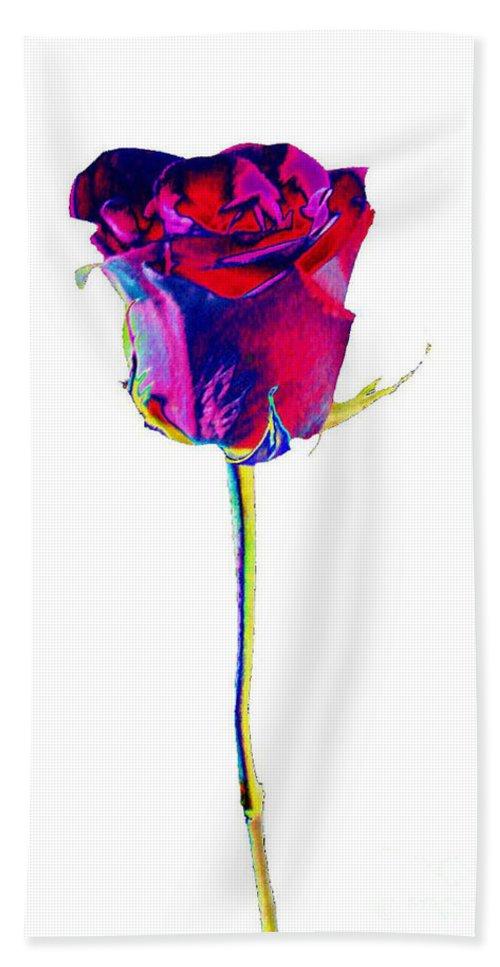 Velvet Bath Towel featuring the digital art Velvet Rose Bud by Carol Lynch
