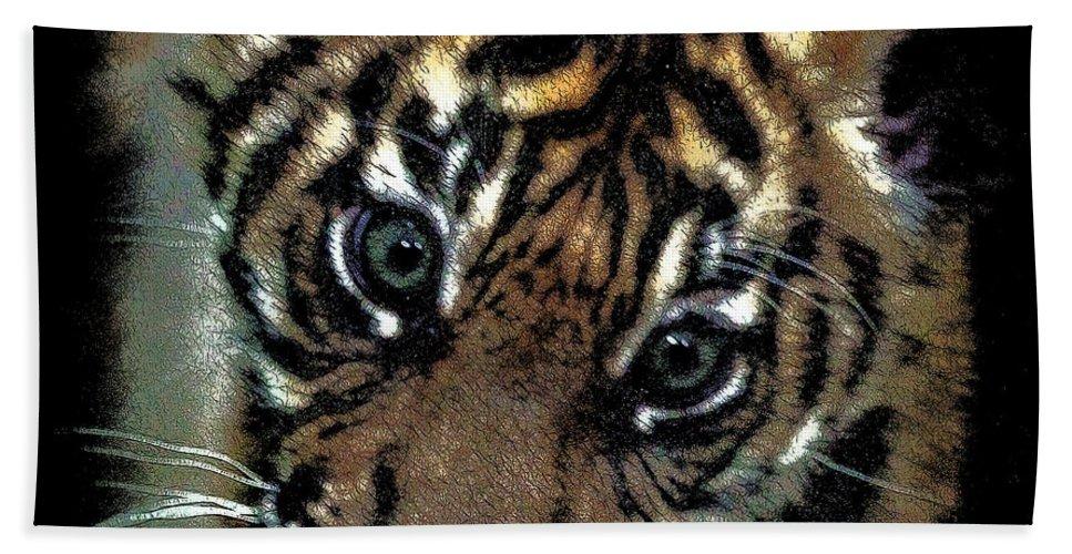 Tiger Bath Sheet featuring the photograph Velvet Tiger Cub by Athena Mckinzie
