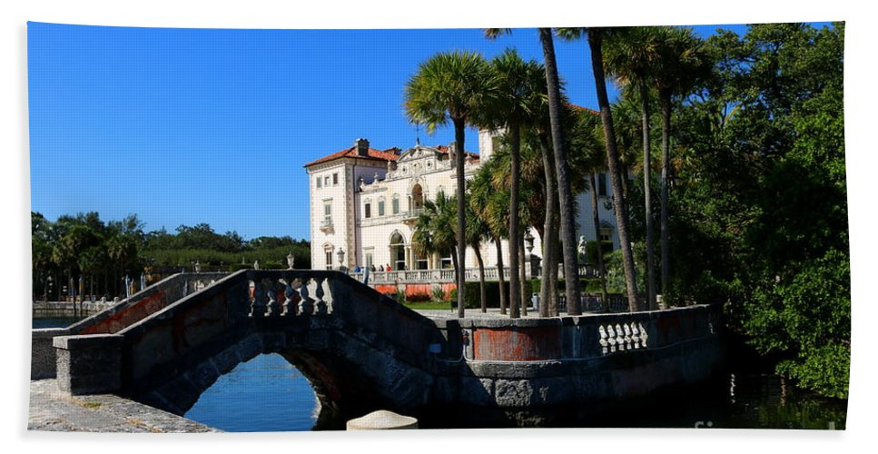 Miami Bath Sheet featuring the photograph Venetian Style Bridge And Villa In Miami by Christiane Schulze Art And Photography