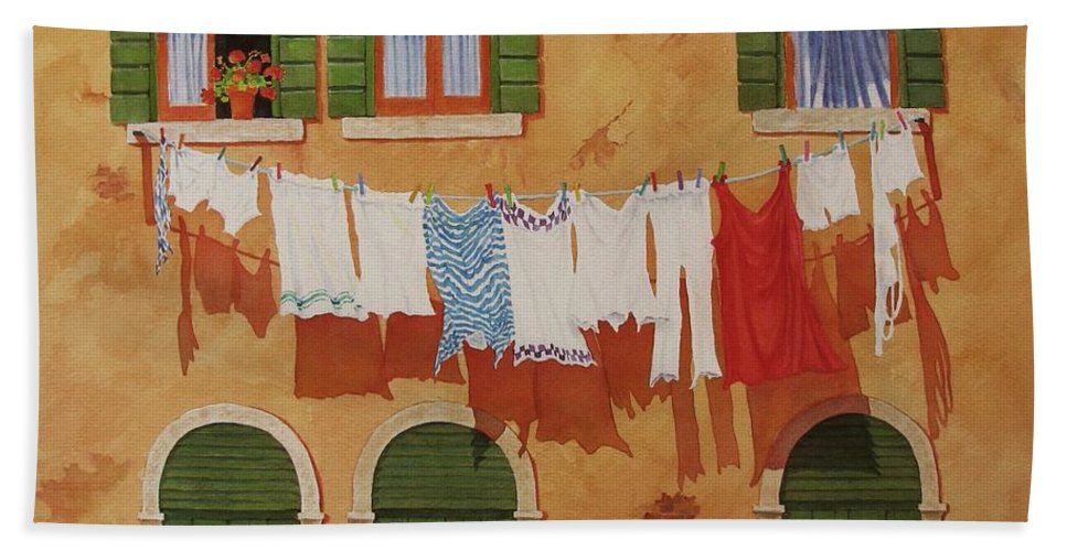 Venice Hand Towel featuring the painting Venetian Washday by Mary Ellen Mueller Legault