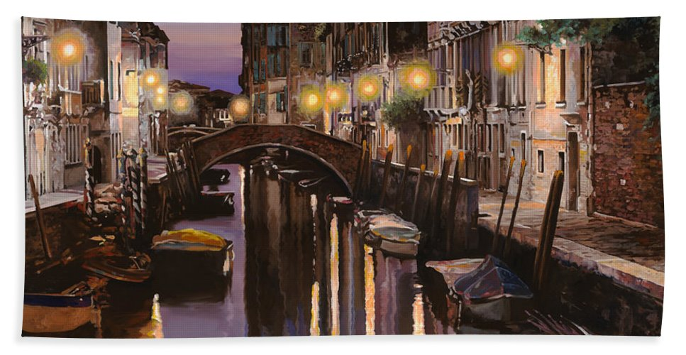 Venice Bath Sheet featuring the painting Venezia Al Crepuscolo by Guido Borelli