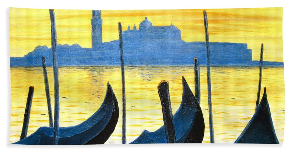 Venice Bath Towel featuring the painting Venezia Venice Italy by Jerome Stumphauzer