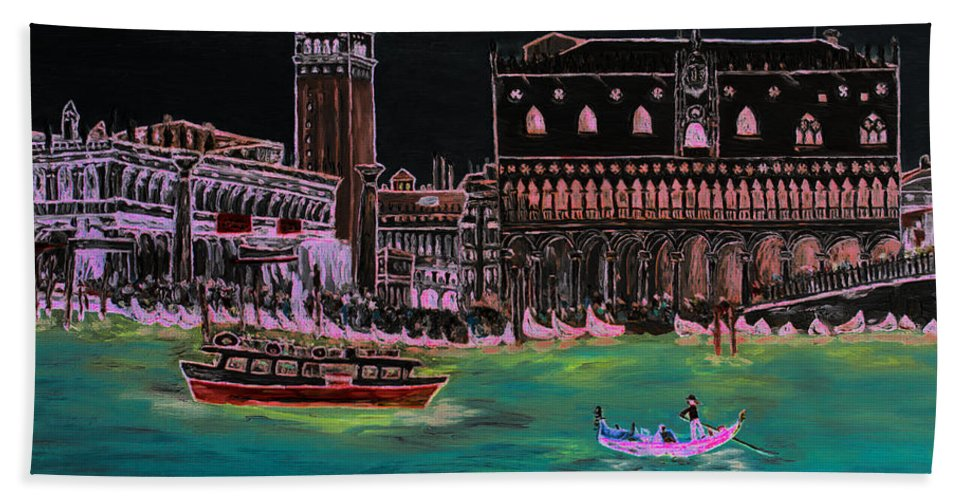 Loredana Messina Bath Sheet featuring the painting Venice At Night by Loredana Messina