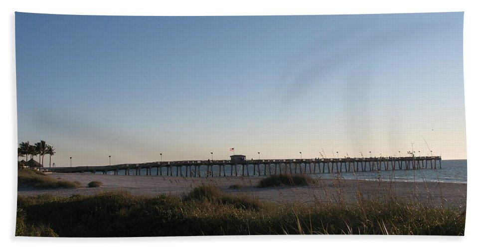 Pier Bath Sheet featuring the photograph Venice Beach Pier by Christiane Schulze Art And Photography