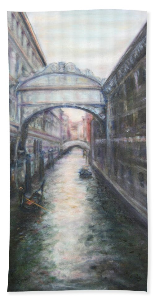 Boat Bath Towel featuring the painting Venice Bridge Of Sighs - Original Oil Painting by Quin Sweetman