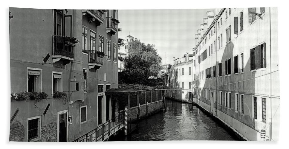 Black And White Bath Sheet featuring the photograph Venice Canal by Valentino Visentini