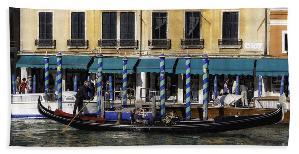 Italy Hand Towel featuring the photograph Venice Gondola by Timothy Hacker