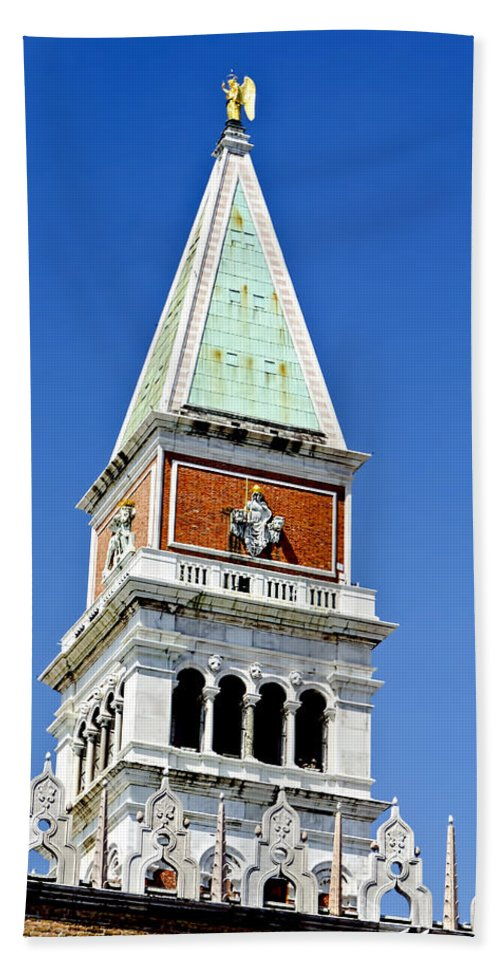 Venice Italy Bath Sheet featuring the photograph Venice Italy - St Marks Square Tower by Jon Berghoff