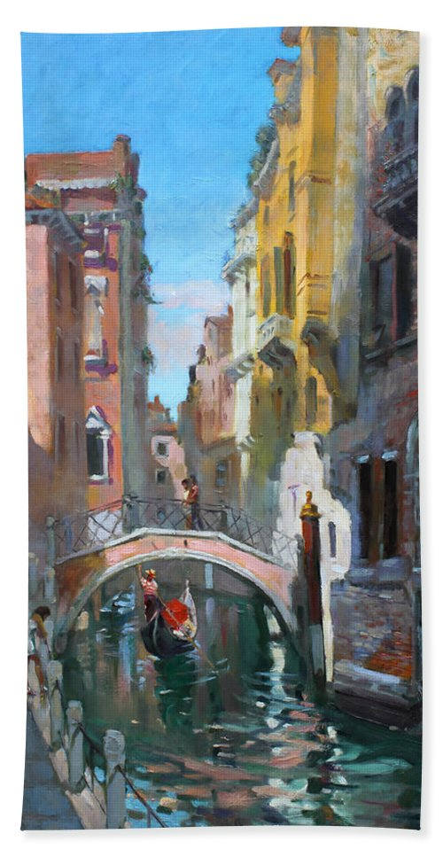 Venice Hand Towel featuring the painting Venice Italy by Ylli Haruni