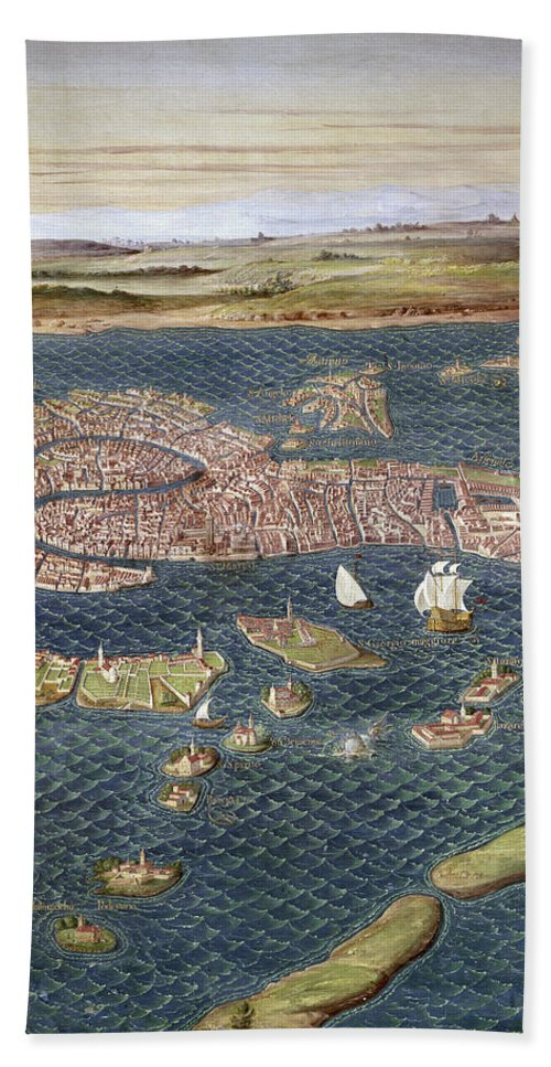 16th Century Hand Towel featuring the photograph Venice: Map, 16th Century by Granger