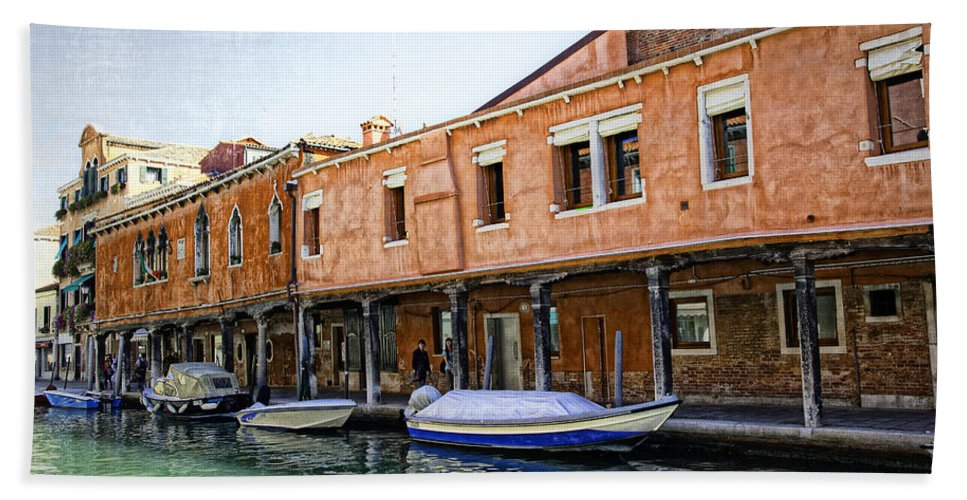 Boats Hand Towel featuring the photograph Venice Reflections - Italy by Madeline Ellis