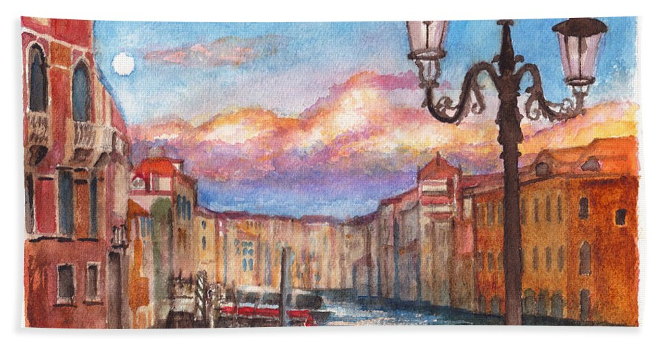 Venice Hand Towel featuring the painting Venice Sunset by Dai Wynn