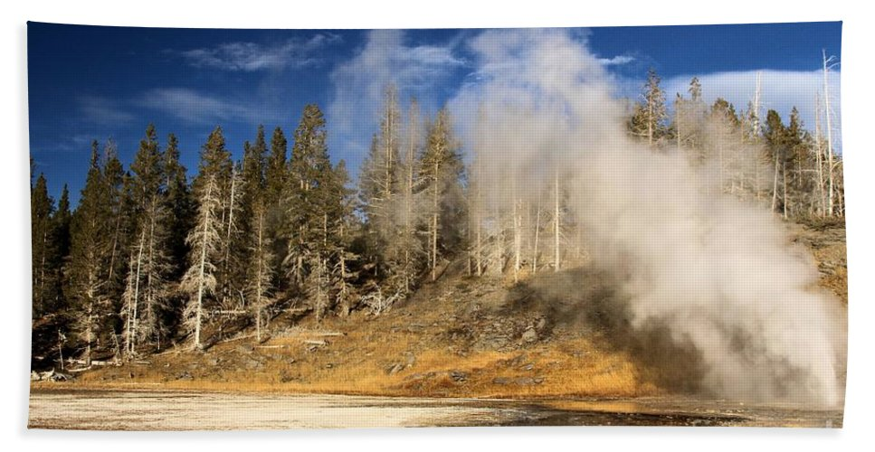 Vent Geyser Hand Towel featuring the photograph Vent Geyser by Adam Jewell