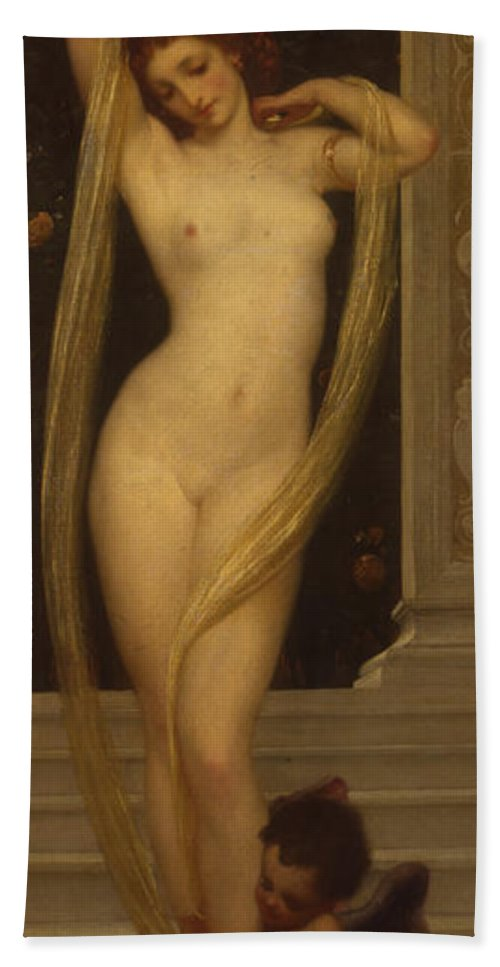 Nude Bath Sheet featuring the painting Venus And Cupid by Frederic Leighton