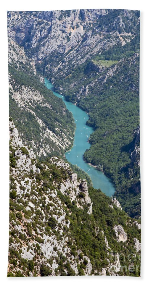 Gorge Du Verdon France River Rivers Water Tree Trees Canyon Canyons Gorges Landscape Landscapes Provence Mountain Mountains Bath Sheet featuring the photograph Verdon River by Bob Phillips