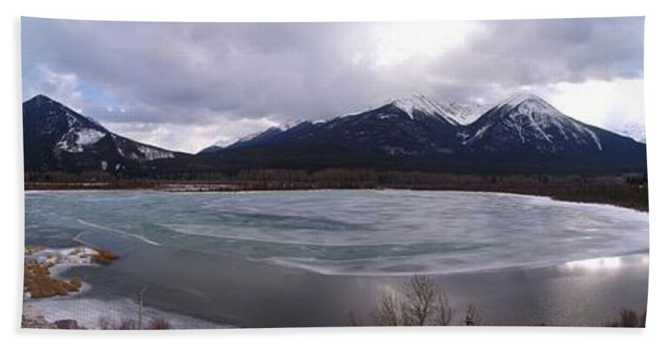 Vermillion Lakes Bath Sheet featuring the photograph Vermillion Lakes, Banff National Park - Panorama by Ian Mcadie