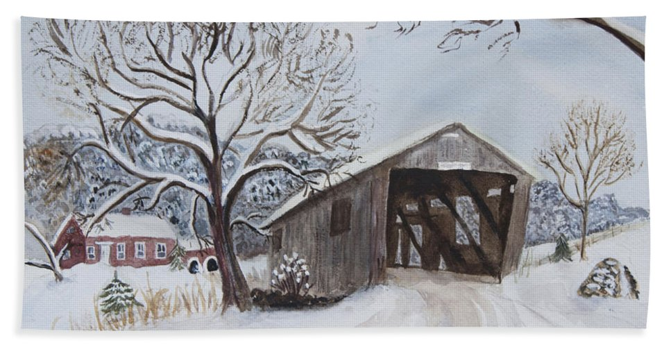 Vermont Hand Towel featuring the painting Vermont Covered Bridge In Winter by Donna Walsh