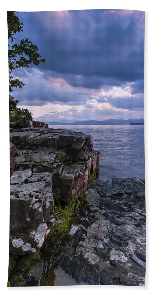Vermont Hand Towel featuring the photograph Vermont Lake Champlain Sunset Clouds Shoreline by Andy Gimino