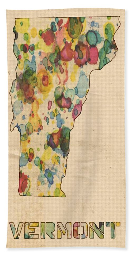 Vermont Bath Sheet featuring the painting Vermont Map Vintage Watercolor by Florian Rodarte