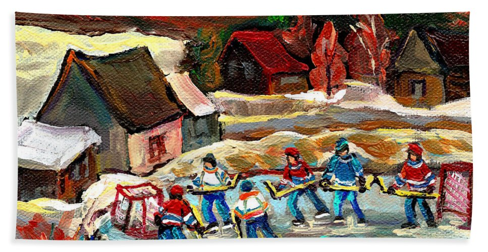 Vermont Bath Towel featuring the painting Vermont Pond Hockey Scene by Carole Spandau