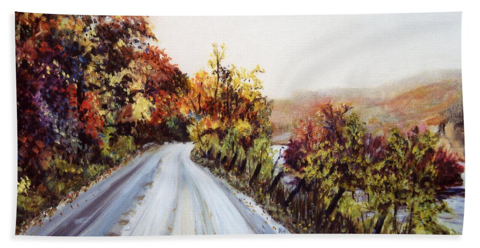 Vermont Road Hand Towel featuring the painting Vermont Road by Pamela Parsons