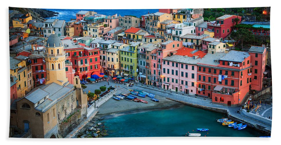 Cinque Terre Hand Towel featuring the photograph Vernazza Sera by Inge Johnsson