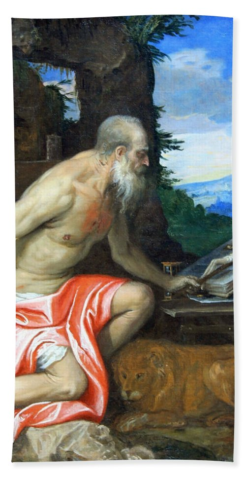 Saint Jerome In The Wilderness Bath Sheet featuring the photograph Veronese's Saint Jerome In The Wilderness by Cora Wandel