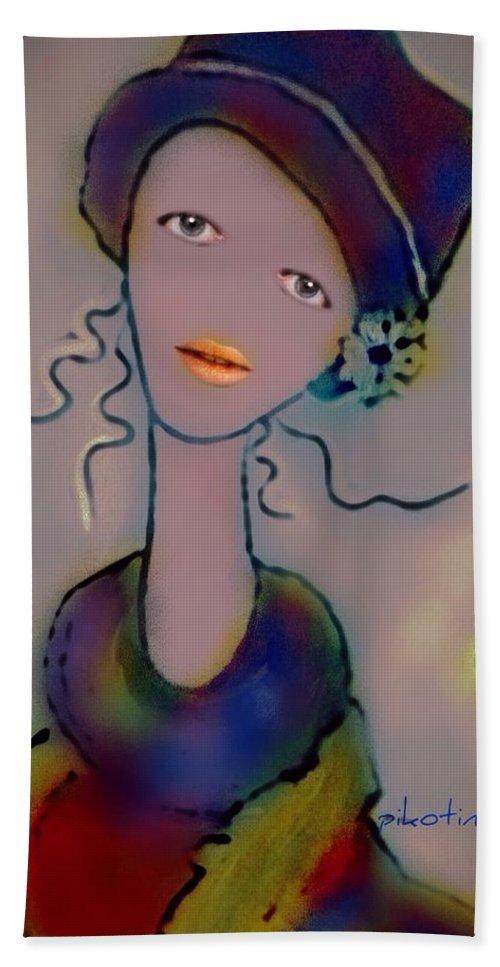 Veronique Hand Towel featuring the digital art Veronique by Pikotine Art